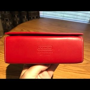 Coach Red smooth Leather Eyeglasses Case
